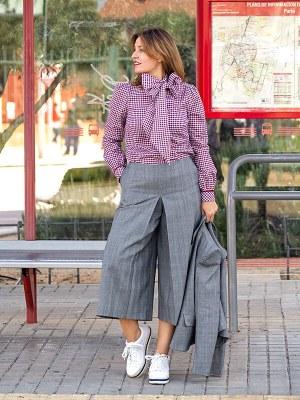 Falda Pantalón Rosa Chacel Cuadros Gales 5 - AW2021 Las SinSombrero - Azul Marino Casi Negro - Moda sostenible
