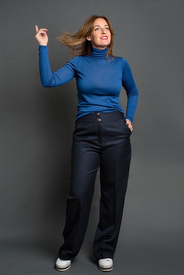 Pantalón Josefina Azul Marino 2 - AW2021 Las SinSombrero - Azul Marino Casi Negro - Moda sostenible