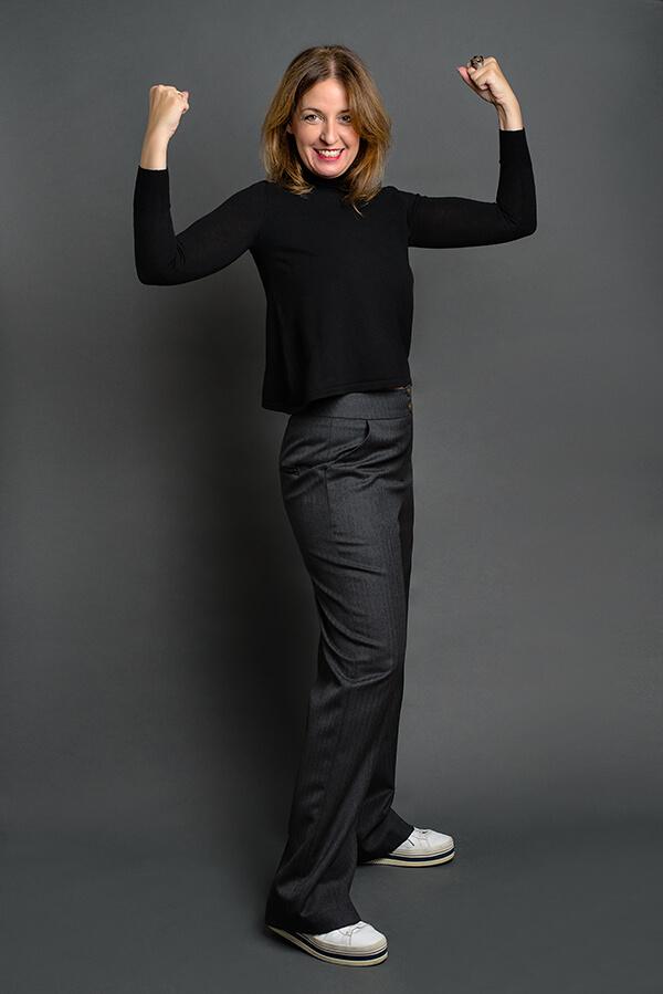 Pantalón Josefina Gris Espiga 4 - AW2021 Las SinSombrero - Azul Marino Casi Negro - Moda sostenible