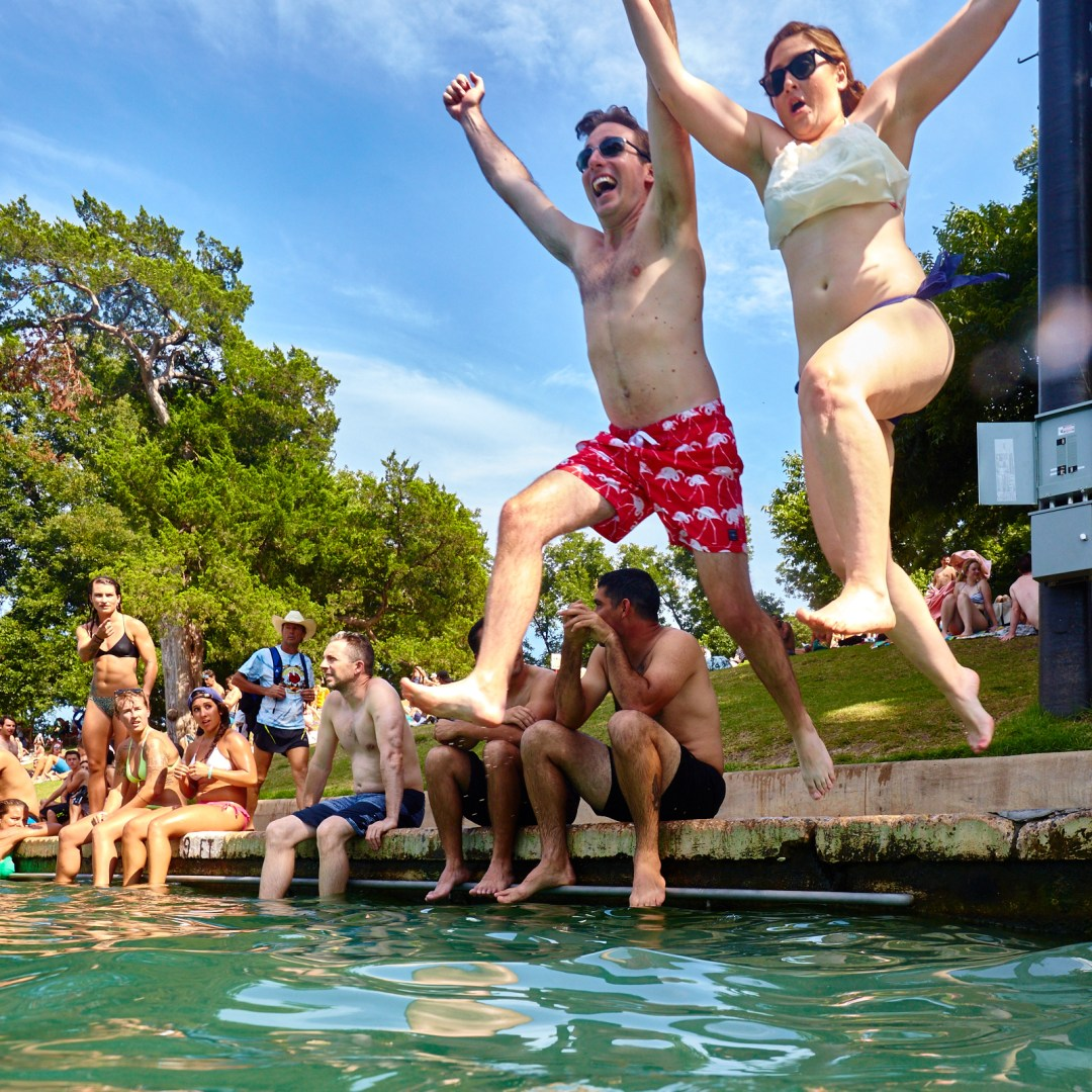 Couple Taking the Plunge at Barton Springs
