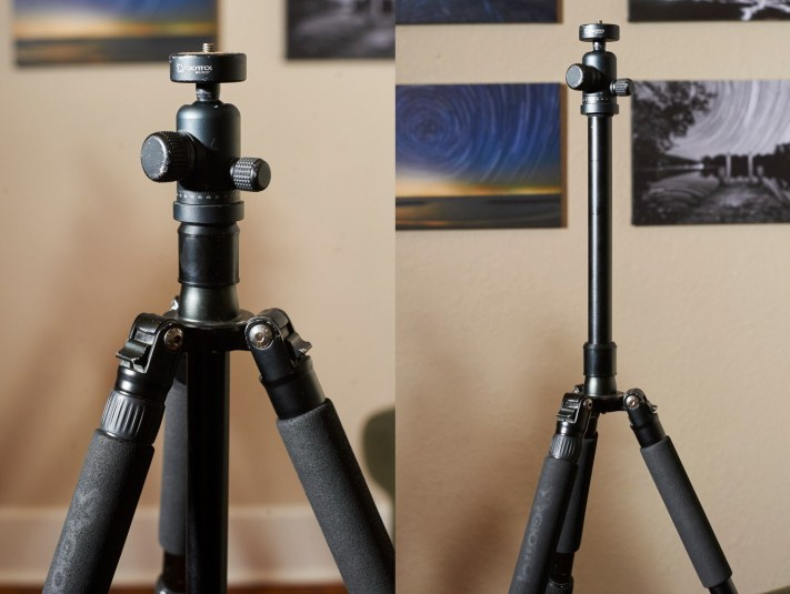 "Note the long ""stem"" that can be extended. This seems like a good way to make a tripod taller, but it isn't. The tripod will be very unstable and prone to shaking in even a slight breeze."