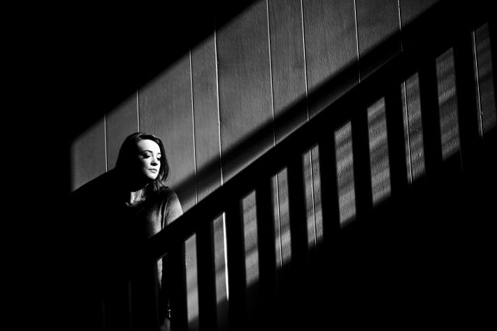 Available Light Senior Portrait - Interesting Light - Black and White Portrait - Austin Cinematic Senior Portraits