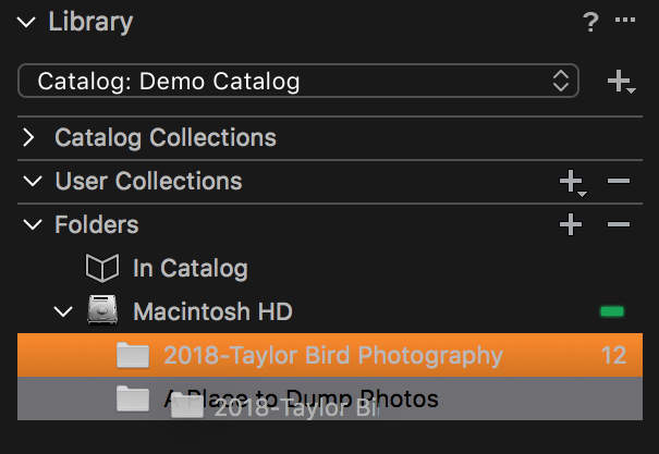 Moving a folder in Capture One