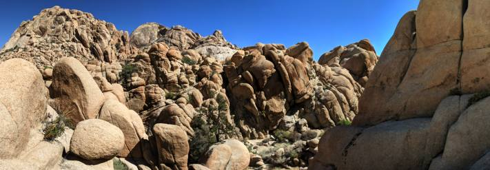 Hiking in the wonderland of rocks involves rock scrables in Joshua Tree National Park.
