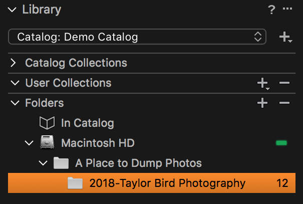 One folder moved under another in Capture One