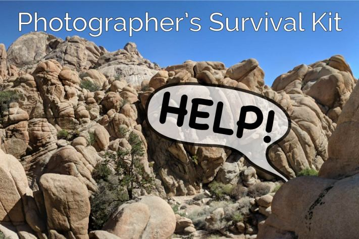 A Photographers Emergency Survival Kit - Photographer calling for help from behind rock.