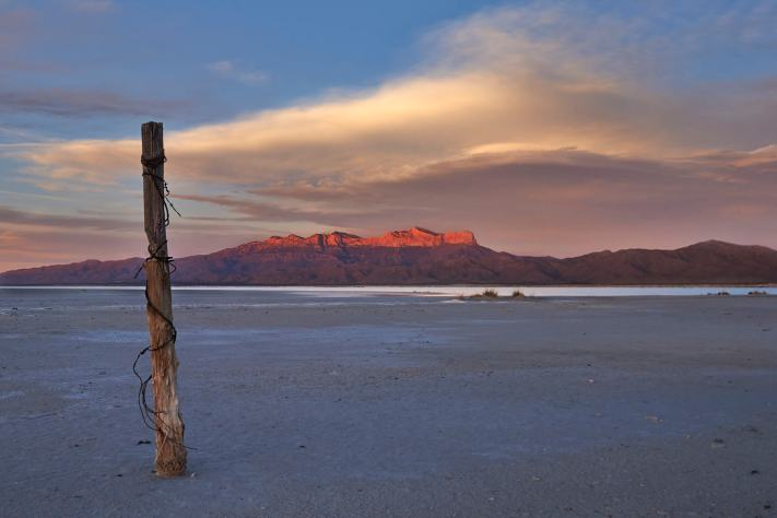 Guadalupe Mountains National Park sunset across the salt flats.