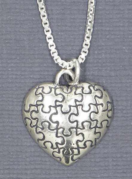 Sterling Silver Autism Heart Necklace