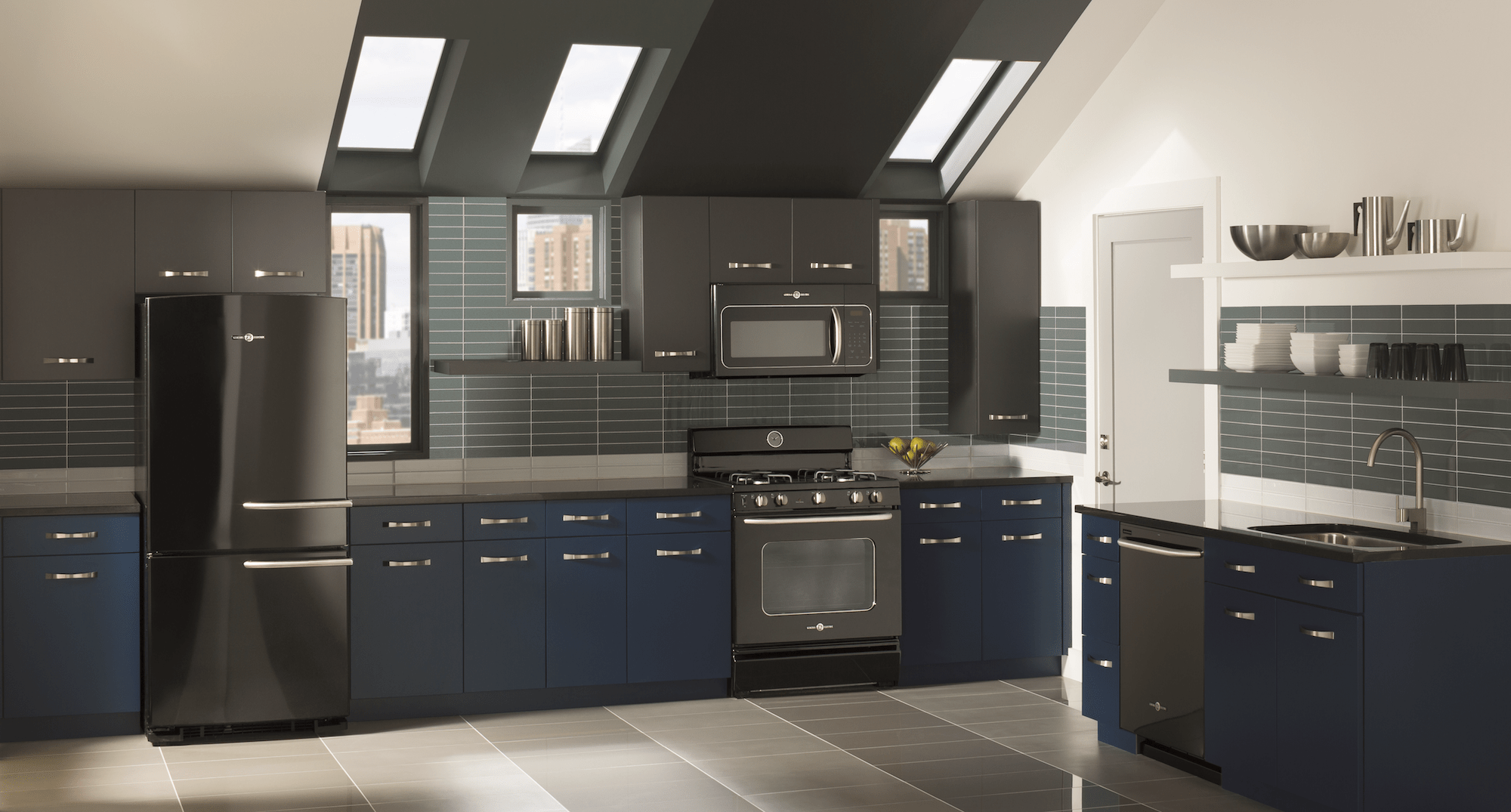 black kitchen appliances large sink dimensions is the new in kitchens azure magazine ge artistry series