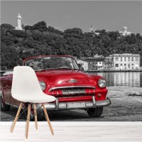 Vintage Red Car Wall Mural Black & White Wallpaper Cuba ...