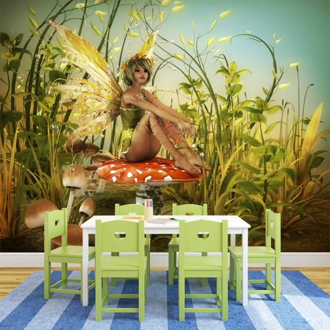 Wallpaper For Girls Room Uk Green Fairy Wall Mural Woodland Fantasy Wallpaper Girls