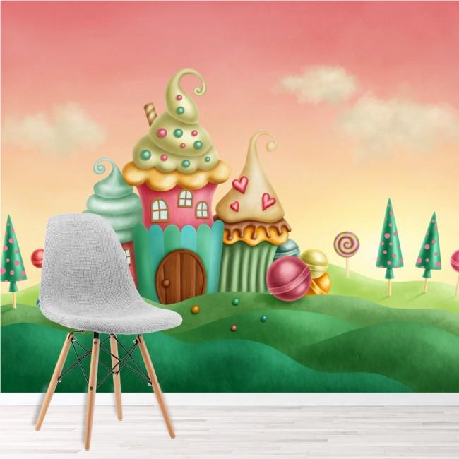 Pink Blue Cupcake House Wall Mural Fairytale Wallpaper