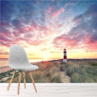 Lighthouse Sunrise Wall Mural Beach Wallpaper Living Room ...