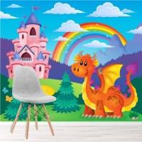 Princess Castle Wall Mural Fairytale Dragon Wallpaper ...