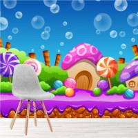 Candy Land Wall Mural Pink Purple Fairytale Wallpaper ...