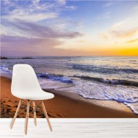 Sunset Beach Panoramic Wall Mural Castle Italy Wallpaper ...