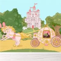 Princess Castle Carriage Wall Mural Fairytale Wallpaper ...