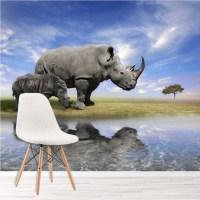 Grey Rhino Wall Mural Jungle Animals Wallpaper Kids ...