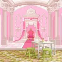 Princess Throne Wall Mural Pink Fairytale Wallpaper Girls ...
