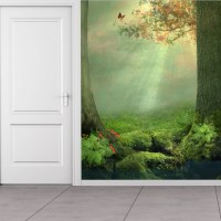 Enchanted Forest Wall Mural Butterfly Tree Wallpaper Girls ...