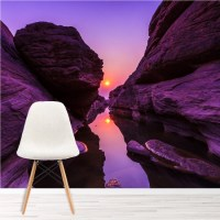 Purple Canyon Wall Mural Mountain Sunset Wallpaper Bedroom ...