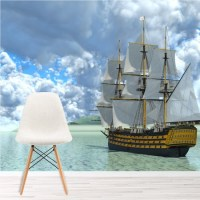 Vintage Ship Wall Mural Blue Ocean Wallpaper Living Room ...