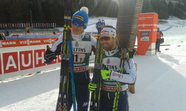 Samuel Costa e Alessandro Pittin: i due azzurri sono andati a podio nel Team Sprint della Val di Fiemme