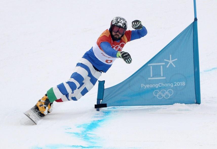 Edwin Coratti, snowboarder italiano, in gara alle Olimpiadi invernali di PyeongChang 2018