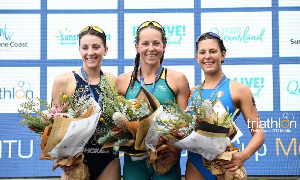triathlon coppa del mondo 2018 mooloolaba angelica olmo bronzo terza italia podio world cup 2018