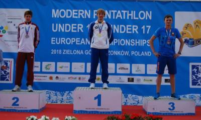 pentathlon europei youth a e b 2018 giorgio malan oro campione under 19 italia podio individuale maschile gold modern pentathlon under 19 under 17 european championships 2018 pentathlon moderno