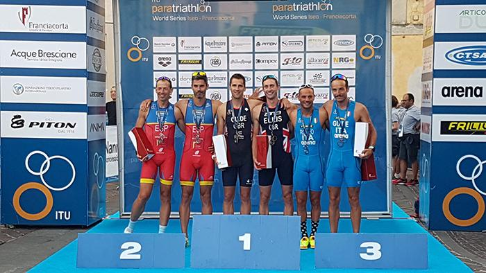 paratriathlon world series 2018 iseo maurizio romeo ennio salerno bronzo italia terzo posto triathlon paralimpico italy world paratriathlon series 2018 podio