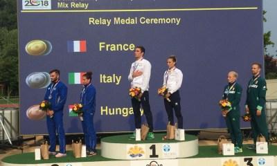 pentathlon europei 2018 italia argento staffetta mista mixed relay valerio grasselli alessandra frezza italy szekesfehervar pentathlon moderno podio modern pentathlon european championships 2018