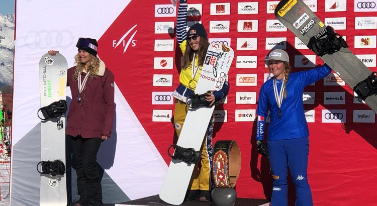 Michela Moioli sul podio a Veysonnaz