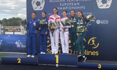 pentathlon europei 2019 bath staffetta femminile argento irene prampolini beatrice mercuri italia italy pentathlon moderno modern pentathlon european championships silver women relay UK great britain
