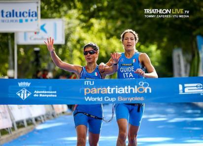 paratriathlon coppa del mondo 2019 banyoles anna barbaro oro charlotte bonin italia italy triathlon paralimpico paralympics gold world cup categoria PTVI