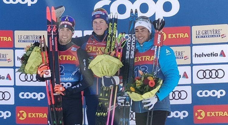 Federico Pellegrino sul podio nella seconda giornata del Tour de Ski 2020