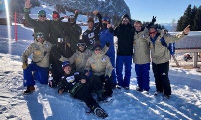 Il team azzurro durante la tappa dell'Alpe di Siusi