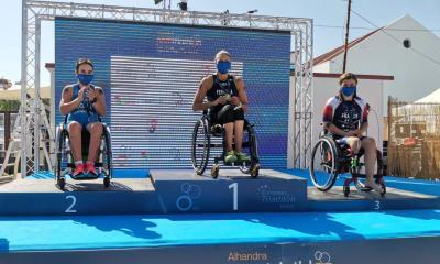 paratriathlon coppa del mondo 2020 alhandra rita cuccuru seconda pier alberto buccoliero terzo triathlon paralimpico portogallo italia italy categoria PTWC second place third place