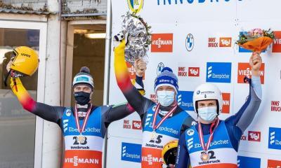 slittino coppa del mondo 2020 igls dominik fischnaller terzo italia italy luge world cup 2020-2021 Ludwig Rieder e Patrick Rastner terzo posto third place bronzo bronze austria