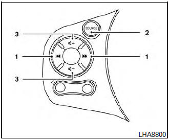 Nissan Micra: Steering wheel switch for audio control