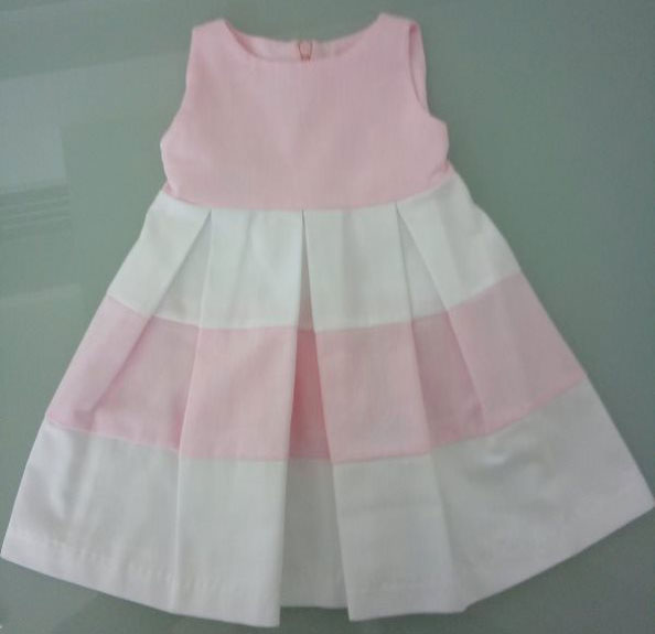 Φόρεμα ροζ-λευκό 13111