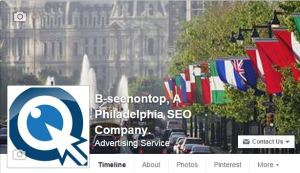 snapshot of the B-SeenOnTop Facebook page on the social media and seo page of the site