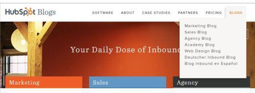 snap of hubspot blog categories
