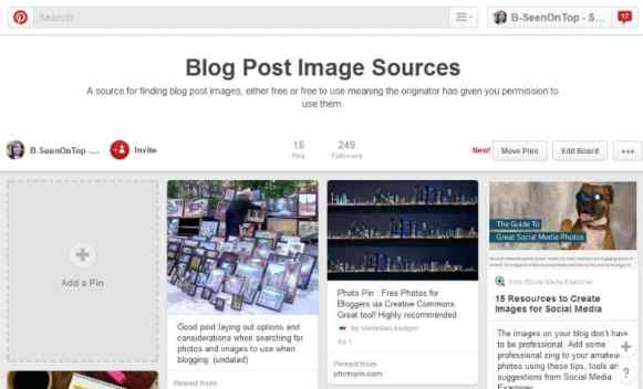 snap of the Pinterest board containing source of free and permission to use photos and images