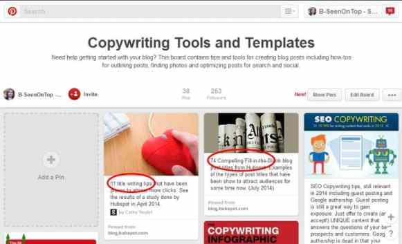 snap of my copywriting pinterest page
