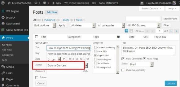 snap of the place in WordPress where you specify a page or post author