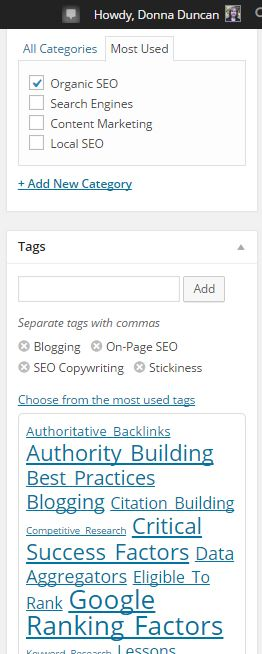 sample display of wordpress categories and tags