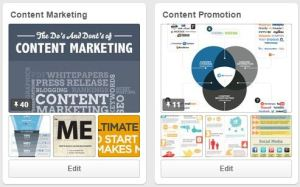 snapshot of content marketing and content promotion boards on the Content Marketing Philadelphia B-SeenOnTop Pinterest site.