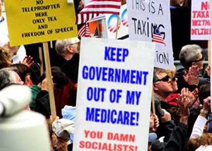 Image result for government hands off my medicare obamacare protest