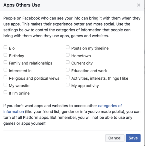 Facebook Apps Others Use